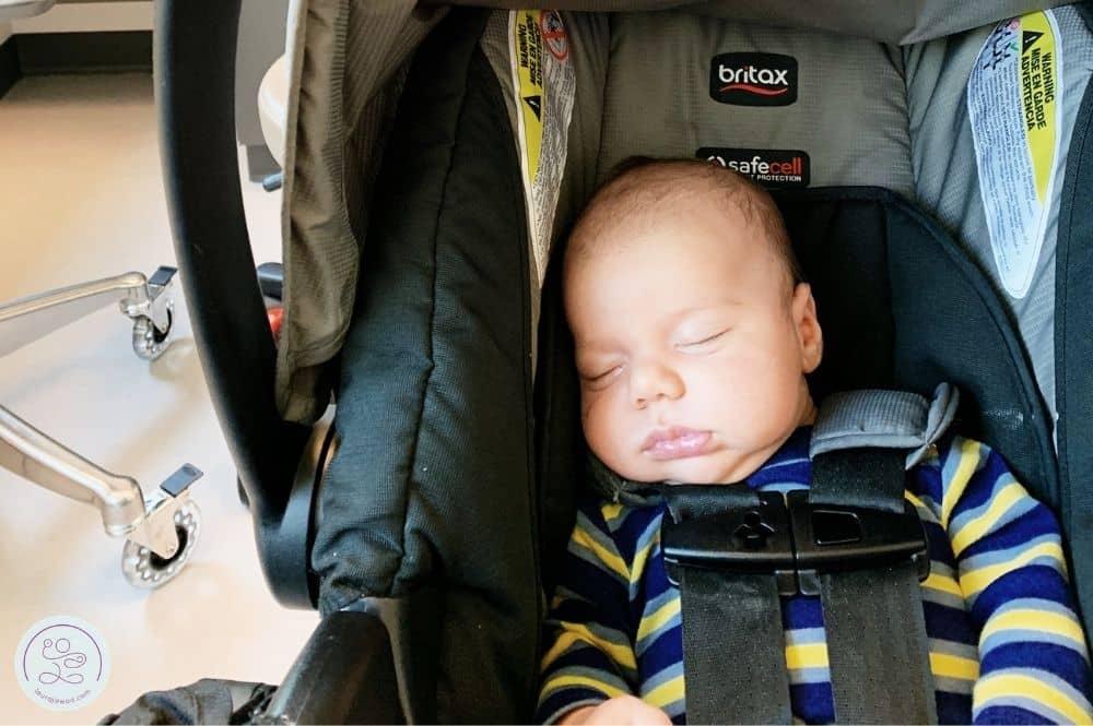 Sweet baby boy at mama's 6 week postpartum GYN checkup