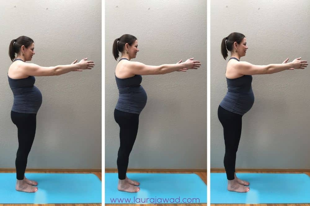 Pregnant woman demonstrating three common pregnancy postures