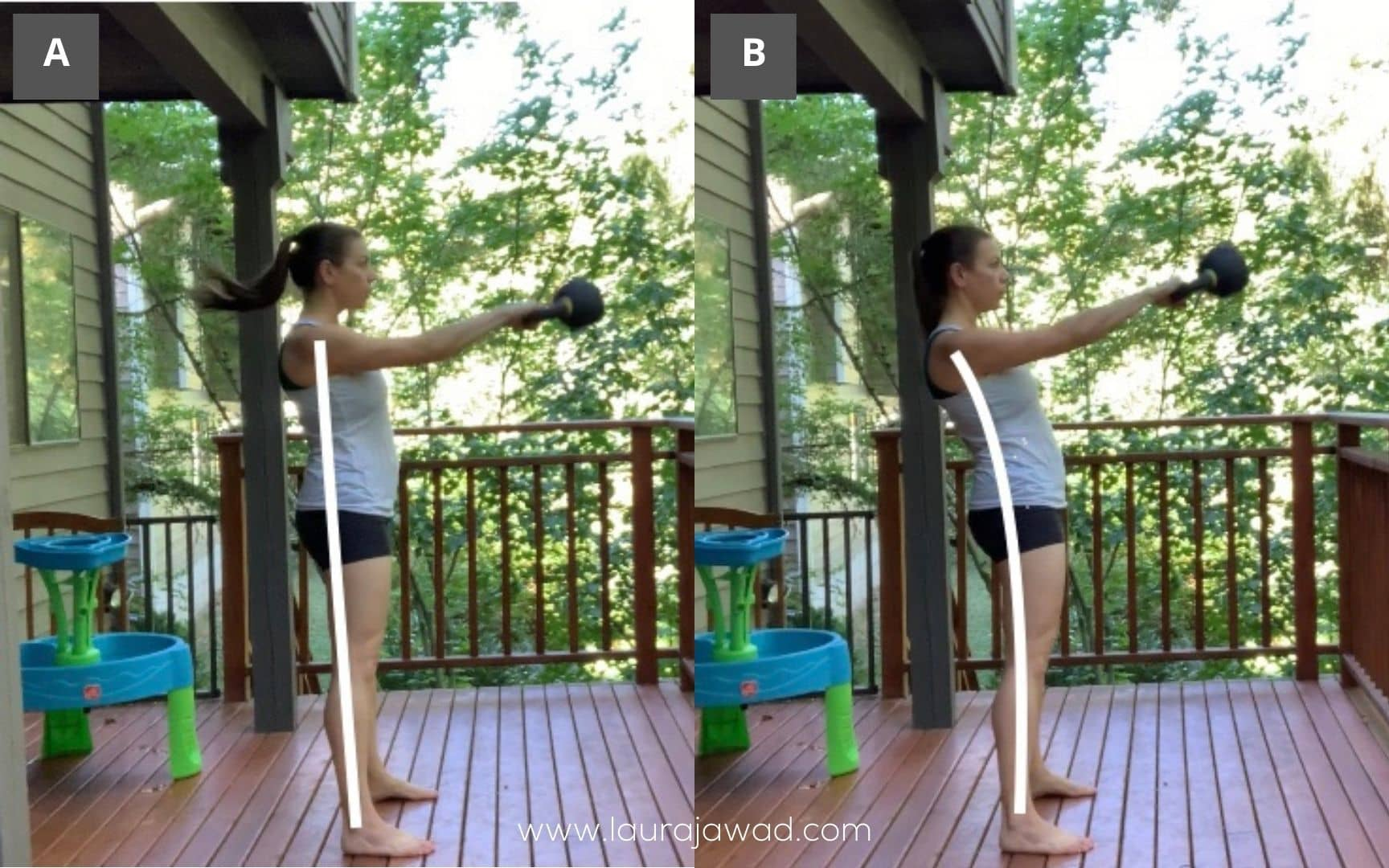 Female athlete demonstrating good and poor form swinging a kettlebell