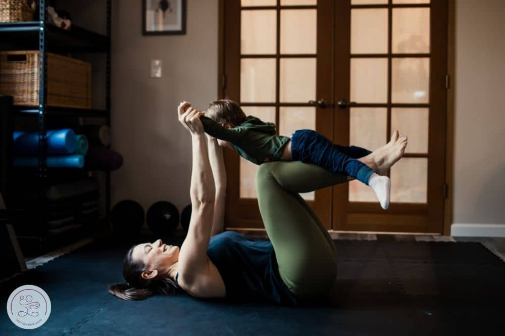 Playing with toddler after return to exercise after giving birth